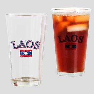 Laos Flag Designs Drinking Glass