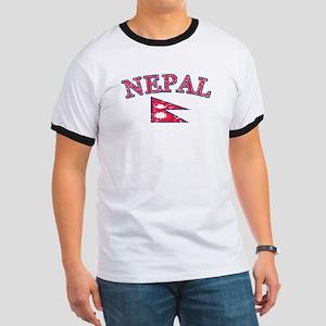 Nepal Flag Designs Ringer T