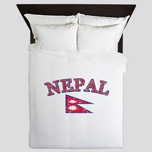 Nepal Flag Designs Queen Duvet