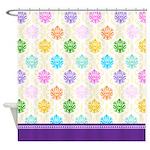 Rainbow Damask Shower Curtain