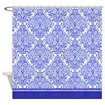 Dark blue damask shower curtain