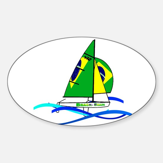 Brazil 470 Class Sailing Sticker (Oval)