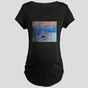 Claude Monet Impression Sunrise Maternity Dark T-S