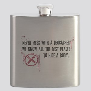 Geocaching - never mess dark red Flask