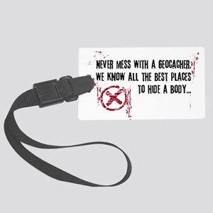 Geocaching - never mess dark red Large Luggage Tag