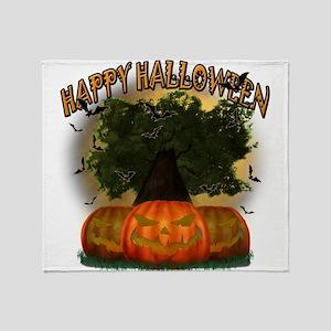 Happy Halloween Tree Throw Blanket