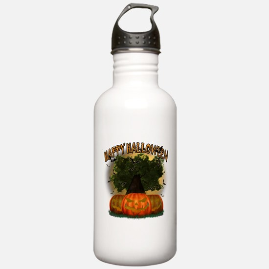 Happy Halloween Tree.png Water Bottle