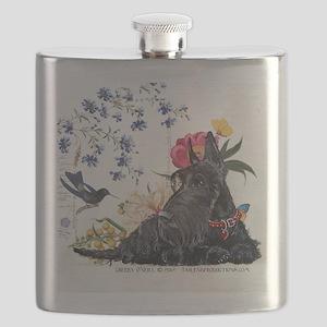 Scottish Terrier and Hummingbird Flask
