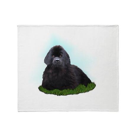 Newfoundland Dog on Grass Throw Blanket