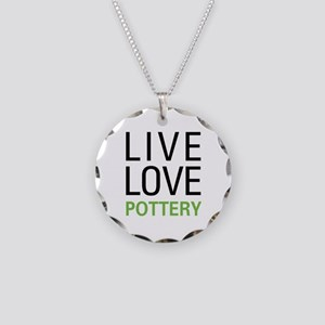 Live Love Pottery Necklace Circle Charm
