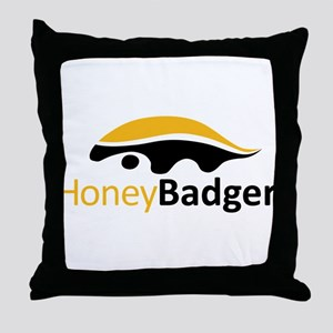 Honey Badger Logo Throw Pillow