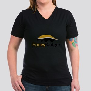 Honey Badger Logo Women's V-Neck Dark T-Shirt