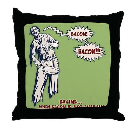 Zombie Bacon Throw Pillow