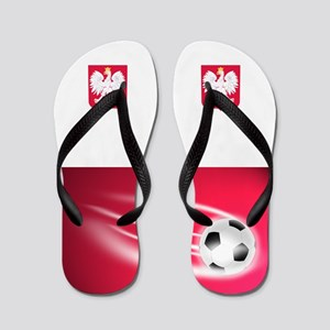 Polish Poland Polska Football Soccer Flip Flops