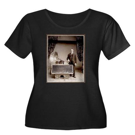 The Phonograph Women's Plus Size Scoop Neck Dark T