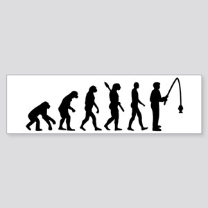 Evolution fishing man Sticker (Bumper)