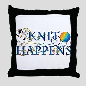 Knit Happens (Cat) Throw Pillow