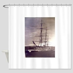 A Vintage Ship Shower Curtain