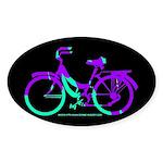 80s Style Bicycling Stivker Sticker (Oval)