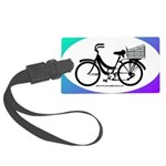 Bicycle Decal with basket Large Luggage Tag