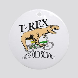 T Rex goes old school Ornament (Round)