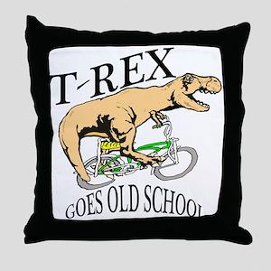 T Rex goes old school Throw Pillow