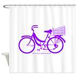 Purple Bike with Basket Shower Curtain