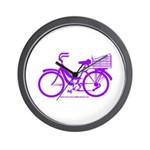 Purple Bike with Basket Wall Clock