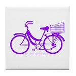 Purple Bike with Basket Tile Coaster