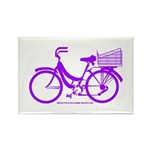 Purple Bike with Basket Rectangle Magnet (100 pack