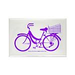 Purple Bike with Basket Rectangle Magnet