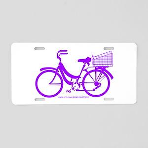 Purple Bike with Basket Aluminum License Plate