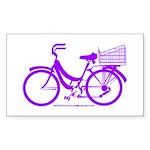 Purple Bike with Basket Sticker (Rectangle)