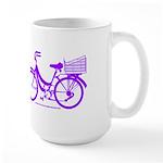 Purple Bike with Basket Large Mug