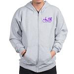Purple Bike with Basket Zip Hoodie