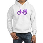 Purple Bike with Basket Hooded Sweatshirt