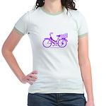 Purple Bike with Basket Jr. Ringer T-Shirt