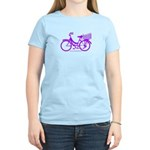 Purple Bike with Basket Women's Light T-Shirt