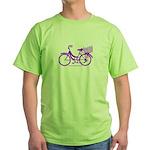 Purple Bike with Basket Green T-Shirt