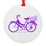Purple Bike with Basket Round Ornament