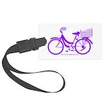 Purple Bike with Basket Large Luggage Tag