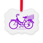 Purple Bike with Basket Picture Ornament