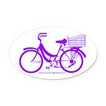 Purple Bike with Basket Oval Car Magnet
