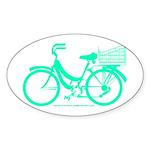 Cycling Cyclists - Teal Bike Sticker (Oval)