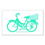 Cycling Cyclists - Teal Bike Sticker (Rectangle)