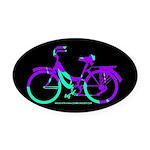80s Style Bicycling Stivker Oval Car Magnet