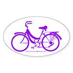 Purple Bike - Awesome! Sticker (Oval)
