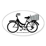 Bicycle Design With Basket Sticker (Oval)