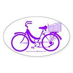 Purple Bike with Basket Sticker (Oval)
