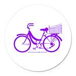Purple Bike with Basket Round Car Magnet